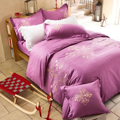 G+家纺 全棉绣花四件套 1.8m(6英尺)床 洛斯浅紫