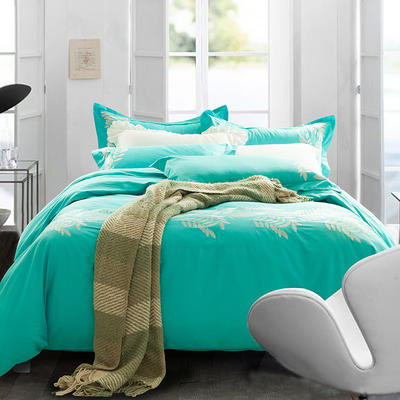 G+家纺 全棉绣花四件套 1.8m(6英尺)床 丽可 绿色