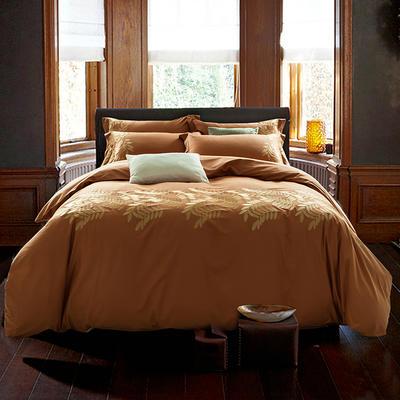 G+家纺 全棉绣花四件套 1.8m(6英尺)床 丽可 桔色