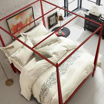 G+家纺 全棉绣花四件套 1.8m(6英尺)床 比洛卡 白
