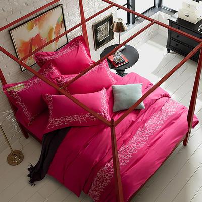 G+家纺 全棉绣花四件套 1.8m(6英尺)床 比洛卡玫红