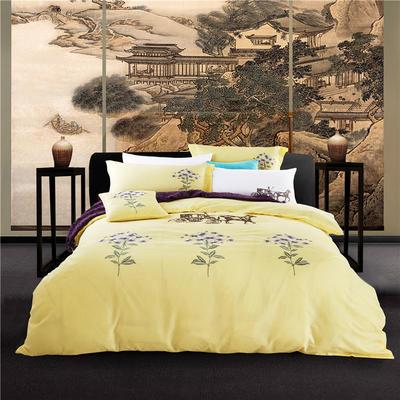 G+家纺 天丝棉麻系列四件套 1.5m(5英尺)床 暮挽晓月