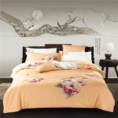 G+家纺 天丝棉麻系列四件套 1.5m(5英尺)床 比翼双飞