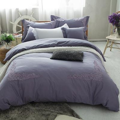 G+家纺 全棉蕾丝四件套 1.8m(6英尺)床 紫