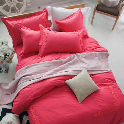 G+家纺 全棉蕾丝四件套 1.8m(6英尺)床 西瓜红
