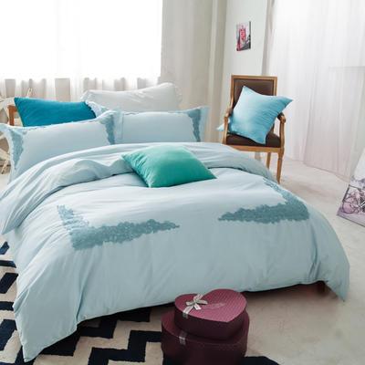 G+家纺 全棉蕾丝四件套 1.8m(6英尺)床 天兰
