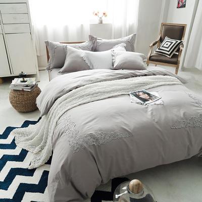 G+家纺 全棉蕾丝四件套 1.5m(5英尺)床 浅灰