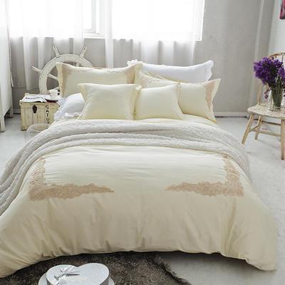 G+家纺 全棉蕾丝四件套 1.5m(5英尺)床 米白