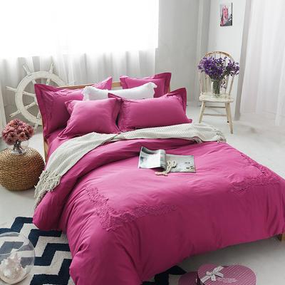 G+家纺 全棉蕾丝四件套 1.5m(5英尺)床 玫红