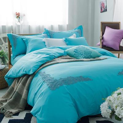 G+家纺 全棉蕾丝四件套 1.5m(5英尺)床 蓝色