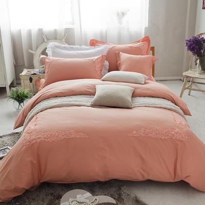 G+家纺 全棉蕾丝四件套 1.5m(5英尺)床 桔黄