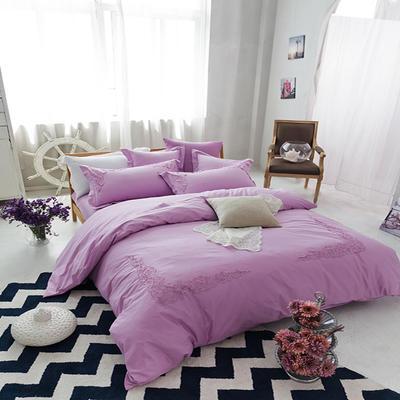 G+家纺 全棉蕾丝四件套 1.5m(5英尺)床 粉