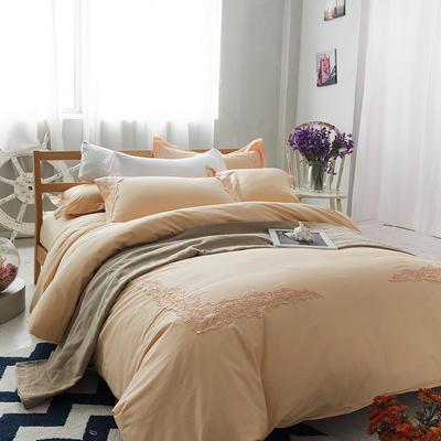 G+家纺 全棉蕾丝四件套 1.5m(5英尺)床 橙色