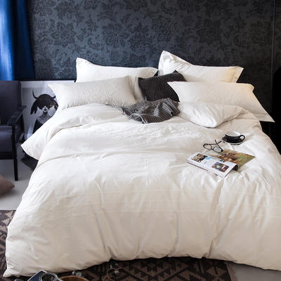 G+家纺 2017全棉蕾丝四件套 1.5m(5英尺)床 珍珠白