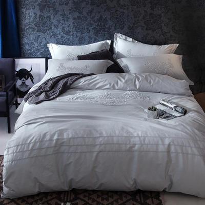 G+家纺 2017全棉蕾丝四件套 1.5m(5英尺)床 银灰