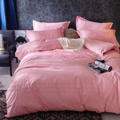 G+家纺 2017全棉蕾丝四件套 1.5m(5英尺)床 嫣红