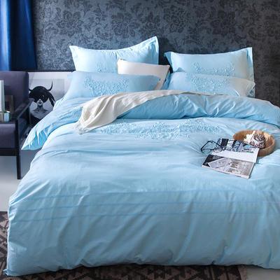 G+家纺 2017全棉蕾丝四件套 1.5m(5英尺)床 天蓝