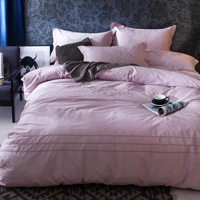 G+家纺 2017全棉蕾丝四件套 1.5m(5英尺)床 藕粉