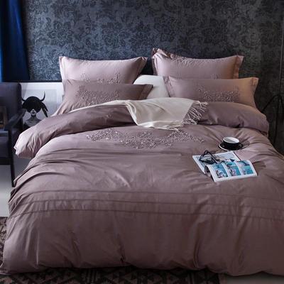 G+家纺 2017全棉蕾丝四件套 1.5m(5英尺)床 酱紫