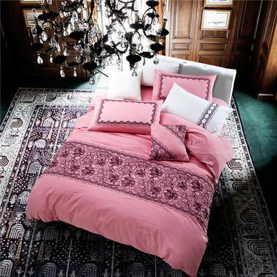 G+家纺 贡缎绣花四件套 1.8m(6英尺)床 茱莉亚 蔷薇红
