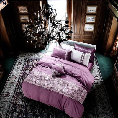 G+家纺 贡缎绣花四件套 1.8m(6英尺)床 茱莉亚 优雅紫