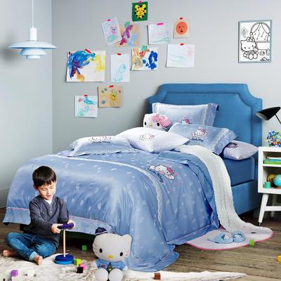 G+家纺 天丝提花凯蒂猫四件套 1.5m(5英尺)床 凯蒂蓝