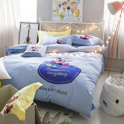 G+家纺 全棉卡通绣花系列四件套 1.5m(5英尺)床 顽皮豹