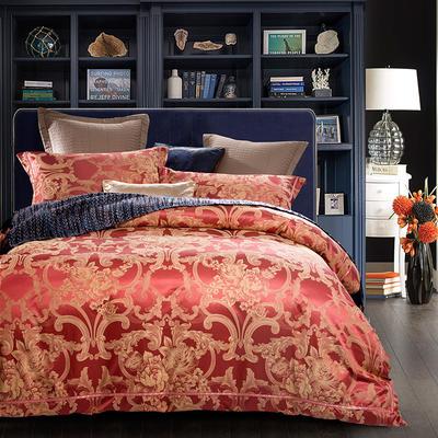 G+家纺 天丝棉提花四件套系列 1.8m(6英尺)床 朝花嫣然-红灰
