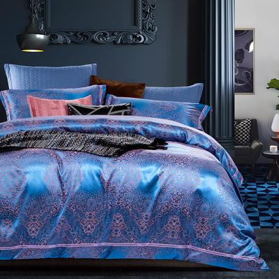 G+家纺 天丝棉提花四件套系列 1.8m(6英尺)床 凡尔德-宝石蓝