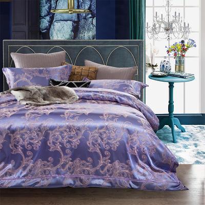 G+家纺 天丝棉提花四件套系列 1.8m(6英尺)床 魔力宝贝-紫