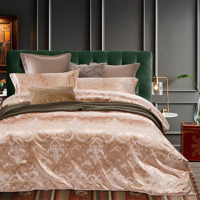 G+家纺 天丝棉提花四件套系列 1.8m(6英尺)床 诺斯密语-香槟金