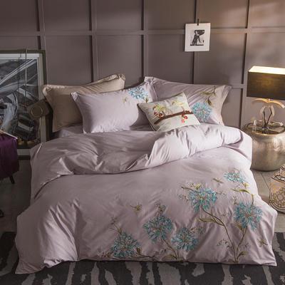G+家纺 13372全棉刺绣遇见初夏系列四件套 1.8m(6英尺)床 花间沁意 灰