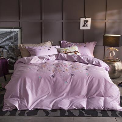 G+家纺 13372全棉刺绣遇见初夏系列四件套 1.8m(6英尺)床 花轻似梦 淡紫