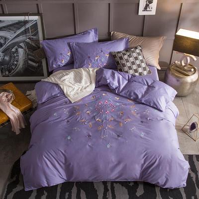 G+家纺 13372全棉刺绣遇见初夏系列四件套 1.8m(6英尺)床 花轻似梦 紫