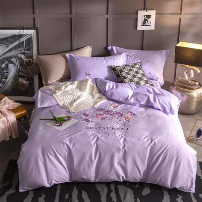 G+家纺 13372全棉刺绣遇见初夏系列四件套 1.8m(6英尺)床 佳期如梦 淡紫