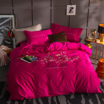 G+家纺 13372全棉刺绣遇见初夏系列四件套 1.8m(6英尺)床 佳期如梦 玫红