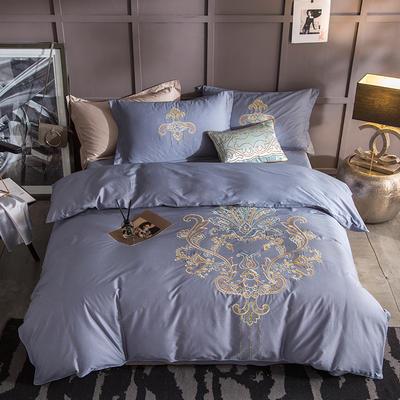 G+家纺 13372全棉刺绣遇见初夏系列四件套 1.8m(6英尺)床 洛城时光 蓝灰