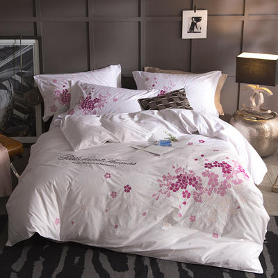 G+家纺 13372全棉刺绣遇见初夏系列四件套 1.5m(5英尺)床 落落梨花 白