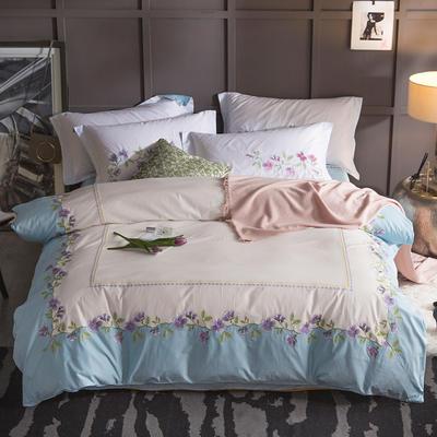 G+家纺 13372全棉刺绣遇见初夏系列四件套 1.8m(6英尺)床 似此春意