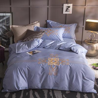 G+家纺 13372全棉刺绣遇见初夏系列四件套 1.8m(6英尺)床 维纳利斯 雾蓝