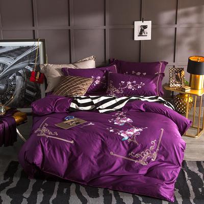 G+家纺 13372全棉刺绣遇见初夏系列四件套 1.8m(6英尺)床 有梦相随 紫