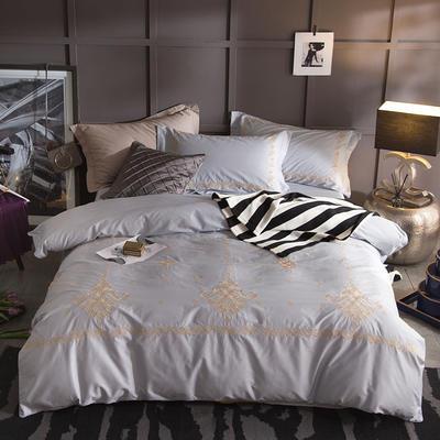 G+家纺 13372全棉刺绣遇见初夏系列四件套 1.5m(5英尺)床 左岸弥香 灰
