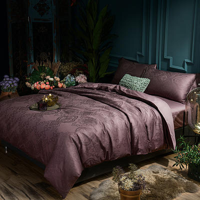 G+家纺 全棉莫代尔提花四件套 1.8m(6英尺)床 莫斯花园