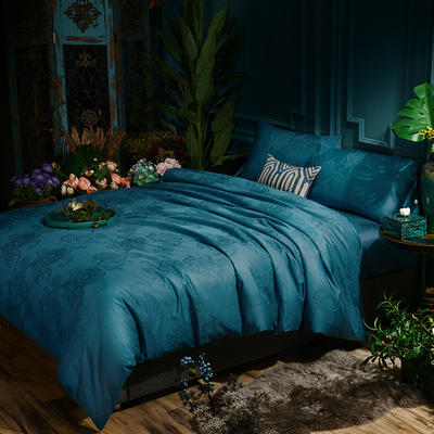 G+家纺 全棉莫代尔提花四件套 1.8m(6英尺)床 花香若雅