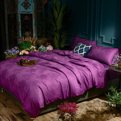 G+家纺 全棉莫代尔提花四件套 1.5m(5英尺)床 花影菲菲