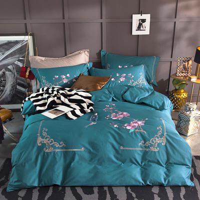 G+家纺 13372全棉刺绣遇见初夏系列四件套 1.8m(6英尺)床 有梦相随 蓝