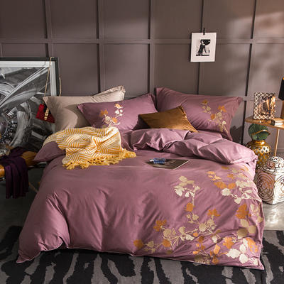 G+家纺 13372全棉刺绣遇见初夏系列四件套 1.8m(6英尺)床 庭树金风 棕咖