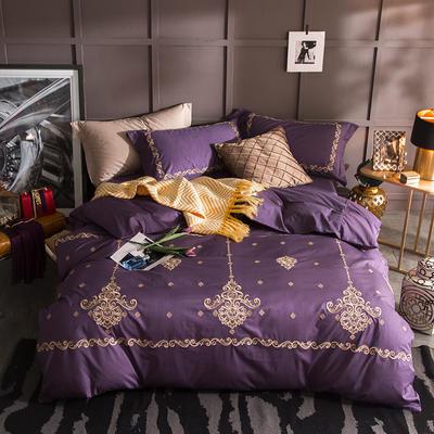 G+家纺 13372全棉刺绣遇见初夏系列四件套 1.8m(6英尺)床 左岸弥香 紫