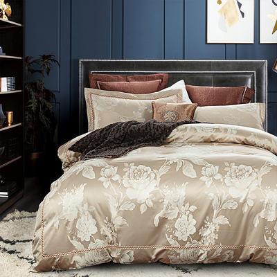 G+家纺 天丝棉提花四件套系列 1.8m(6英尺)床 玛奇朵