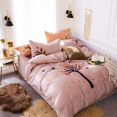 G+家纺 棉花绒毛巾绣四件套 1.5m(5英尺)床 一叶知秋 水蓝